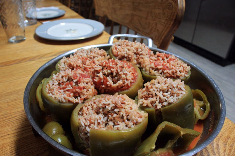 Here is a Middle Eastern inspired stuffed pepper recipe,  great for cold snowy nights.